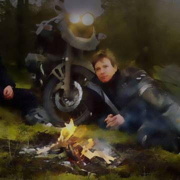 Watercolor of Ewan McGregor and Charley Boorman by a campfire